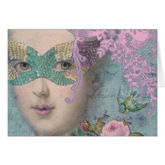 Mardi Gras Marie Antoinette Masquerade Card