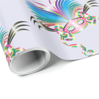 "MARDI GRAS MASK 30"" x 15'   CARTOON Wrapping Paper"