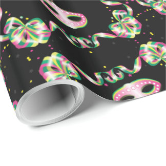 "MARDI GRAS MASK 30"" x 15'  CARTOON WrappingPaper 2"