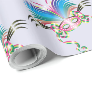 "MARDI GRAS MASK 30"" x 30'   CARTOON Wrapping Paper"