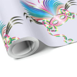 "MARDI GRAS MASK 30"" x 60'  CARTOON Wrapping Paper"