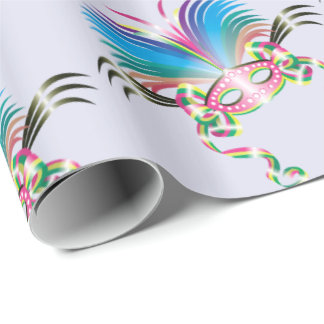 "MARDI GRAS MASK 30"" x 6'   CARTOON Wrapping Paper"