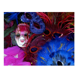Mardi Gras Mask and Feathers Postcard