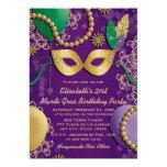 """Mardi Gras Mask Birthday 5"""" X 7"""" Invitation Card"""