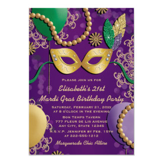 "Mardi Gras Mask Birthday 5"" X 7"" Invitation Card"