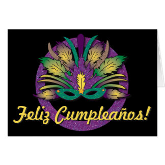 Mardi Gras Mask Birthday - Spanish Greeting Card