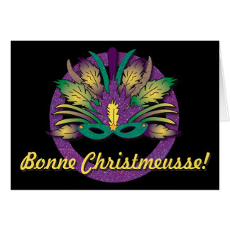 Mardi Gras Mask Christmas - Cajun French Card