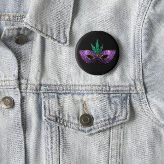 Mardi Gras Mask Purple Green Gold Sparkles 2 Inch Round Button
