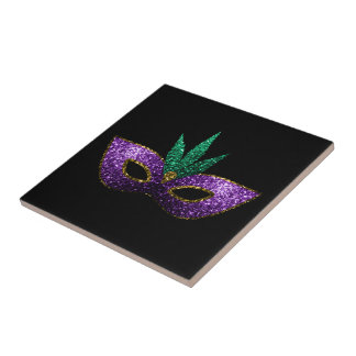 Mardi Gras Mask Purple Green Gold Sparkles Tile