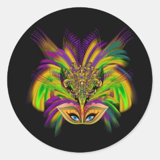 Mardi-Gras-Mask-The-Queen-V-3 Classic Round Sticker