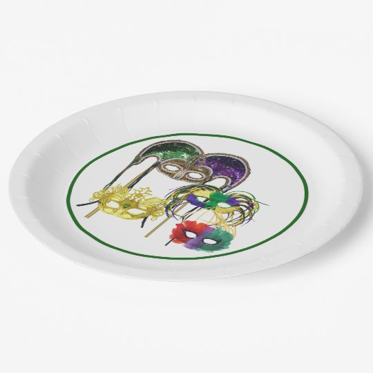 Mardi Gras Masks 1 9 Inch Paper Plate