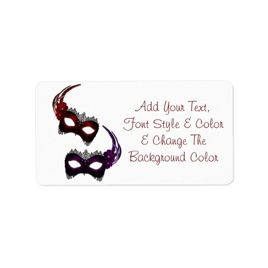 Mardi Gras Masks All Colour Address Labels
