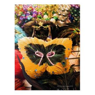 Mardi Gras masks and beads on display Postcard
