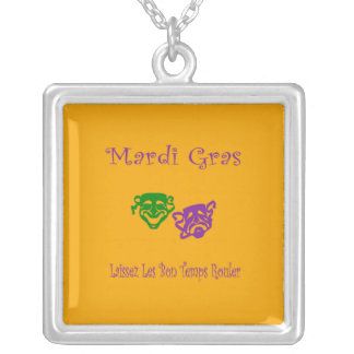 Mardi Gras Masks Rouler Silver Plated Necklace