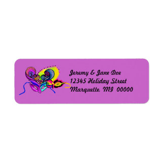 Mardi Gras Masks Vacation Return address Labels
