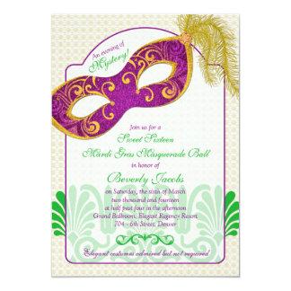 Mardi Gras Masquerade Ball Sweet 16 Birthday 5x7 Paper Invitation Card