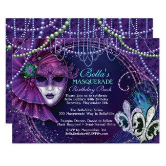 Mardi Gras Masquerade Birthday Party Invitations