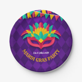 Mardi Gras Masquerade Party Paper Plate