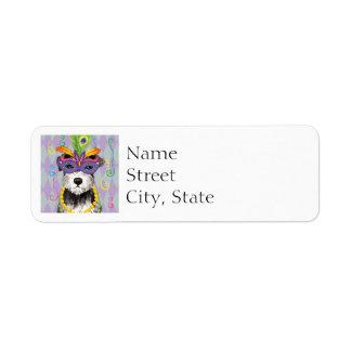 Mardi Gras Mini Schnauzer Return Address Label