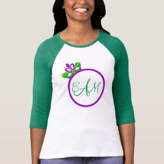 Mardi Gras Monogram 3/4 Sleeve Raglan T-Shirt