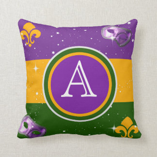 Mardi Gras Monogram Pillow w/mask and fleur de lis
