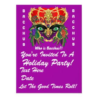 "Mardi Gras Mythology Bacchus View Hints Please 6.5"" X 8.75"" Invitation Card"