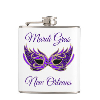 Mardi Gras New Orleans Mask Hip Flask