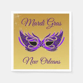 Mardi Gras New Orleans Mask on Gold Napkin