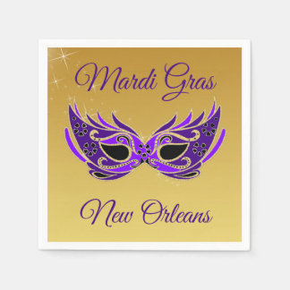 Mardi Gras New Orleans Mask on Gold Paper Napkin