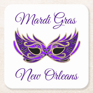 Mardi Gras New Orleans Mask Square Paper Coaster