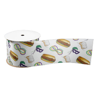 Mardi Gras NOLA New Orleans Mask Beads Print Satin Ribbon