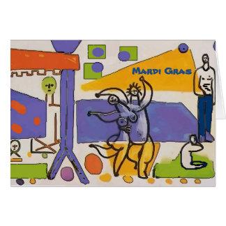 Mardi Gras Parade Abstract Card