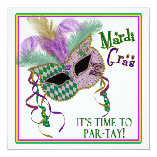 MARDI GRAS PARTY INVITATION - MASK  - SQUARE