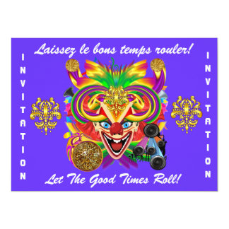 "Mardi Gras Party Theme  Please View Notes 6.5"" X 8.75"" Invitation Card"
