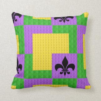 Mardi Gras Patterned Fleur de Lis Pillow
