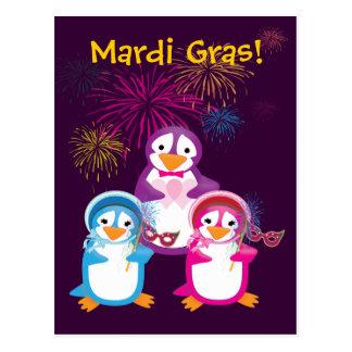 Mardi Gras Penguins Postcard