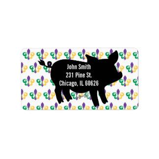 Mardi Gras Pig Silhouette Label