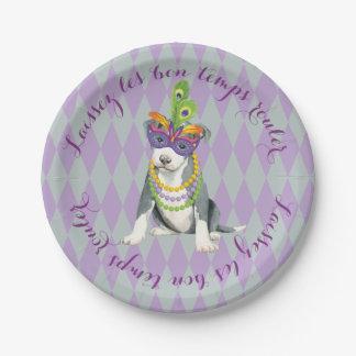 Mardi Gras Pit Bull Terrier 7 Inch Paper Plate