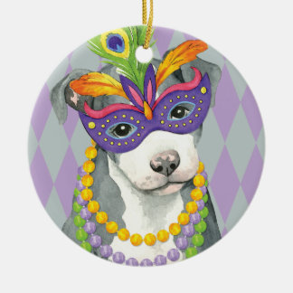 Mardi Gras Pit Bull Terrier Round Ceramic Ornament