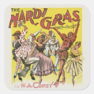 Mardi Gras Poster Square Sticker
