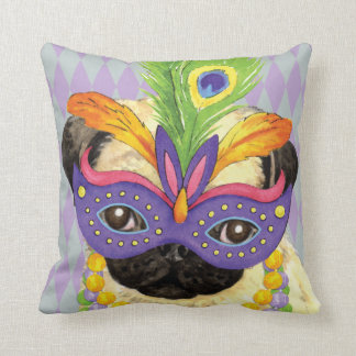 Mardi Gras Pug Throw Pillow