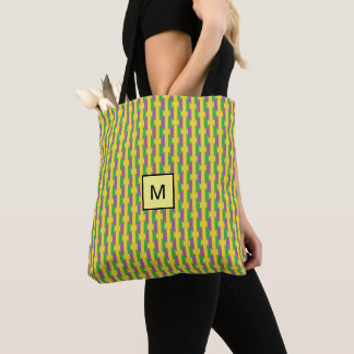 Mardi Gras Purple Green Striped Monogram Tote Bag
