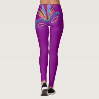 Mardi Gras Purple Mask Leggings