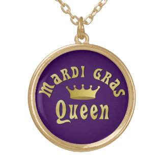 Mardi Gras Queen Gold Plated Necklace