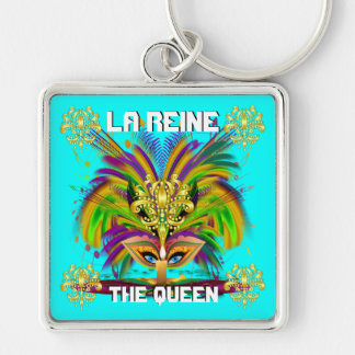 Mardi Gras Queen View Notes Please Silver-Colored Square Keychain