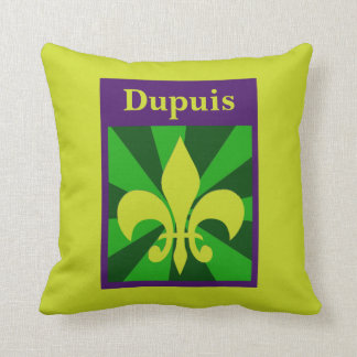 Mardi Gras Retro Styled Fleur de Lis Custom Pillow