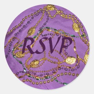 Mardi Gras RSVP Sticker