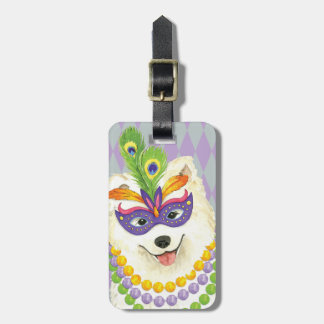 Mardi Gras Samoyed Luggage Tag