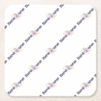Mardi Gras Square Paper Coaster