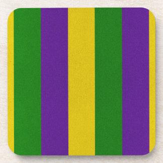 Mardi Gras Striped Pattern Coaster